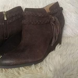 Franco Sarto brown leather booties sz 10
